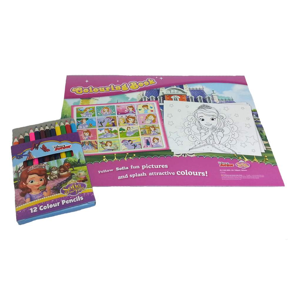 DISNEY SOFIA THE FIRST PAINTING GIRL COLOURING BOOK WITH COLOUR PENCILS SET-11291