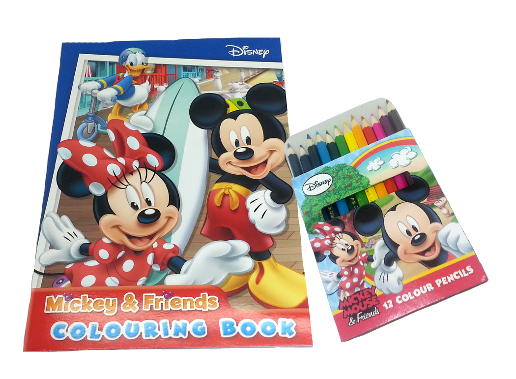DISNEY MICKEY MOUSE & FRIENDS FUN COLOURING BOOK WITH COLOUR PENCILS SET-0