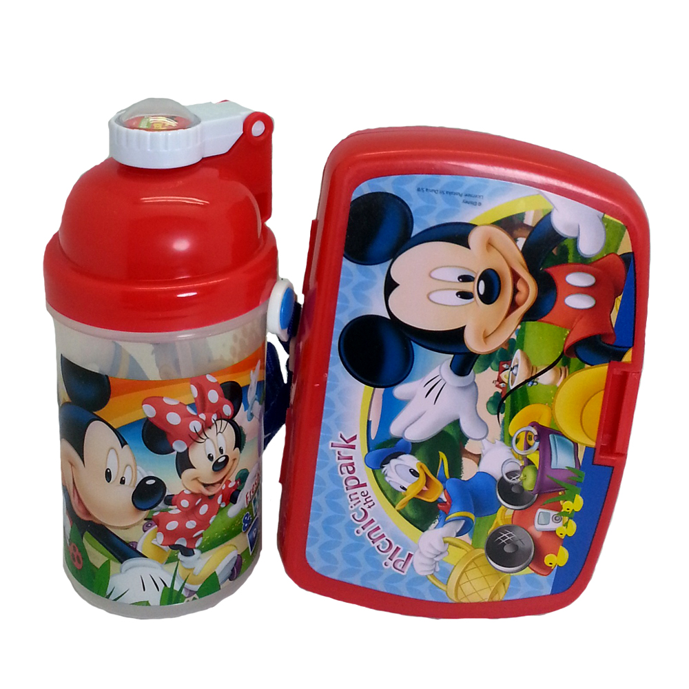 DISNEY MICKEY & FRIENDS LUNCH BOX WITH BOTTLE * BPA FREE-0