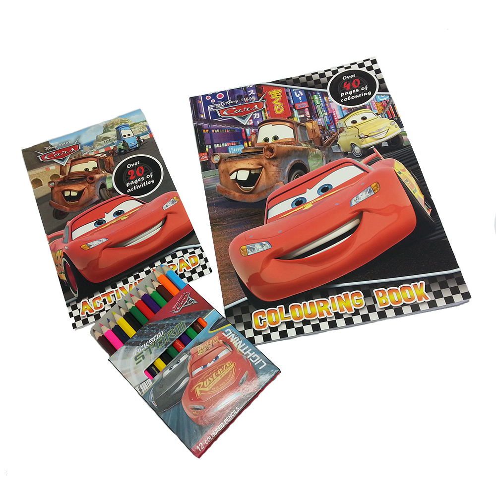 DISNEY CARS 3 ACTIVITY & COLORING BOOK WITH COLOR PENCIL SET-0